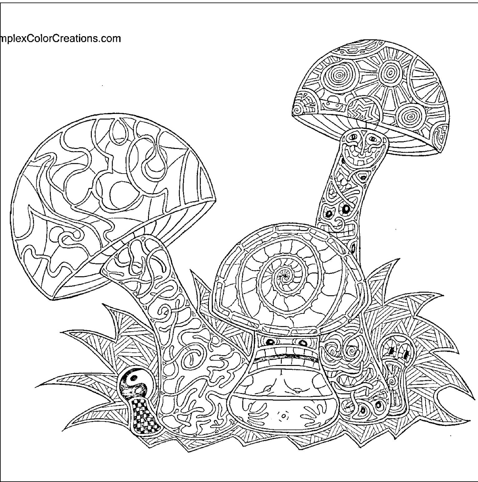 hard trippy coloring page mushroom coloring page - Trippy Coloring Pages