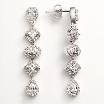 8edd42a2e Emotions Sterling Silver Linear Drop Earrings - Made with Swarovski Zirconia