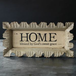 """Blessed Home Tray 19 1/2"""" x 9 3/4"""" x 2"""" Hand-carved with a creamy distressed finish. Message reads, HOME, blessed by God's sweet grace."""