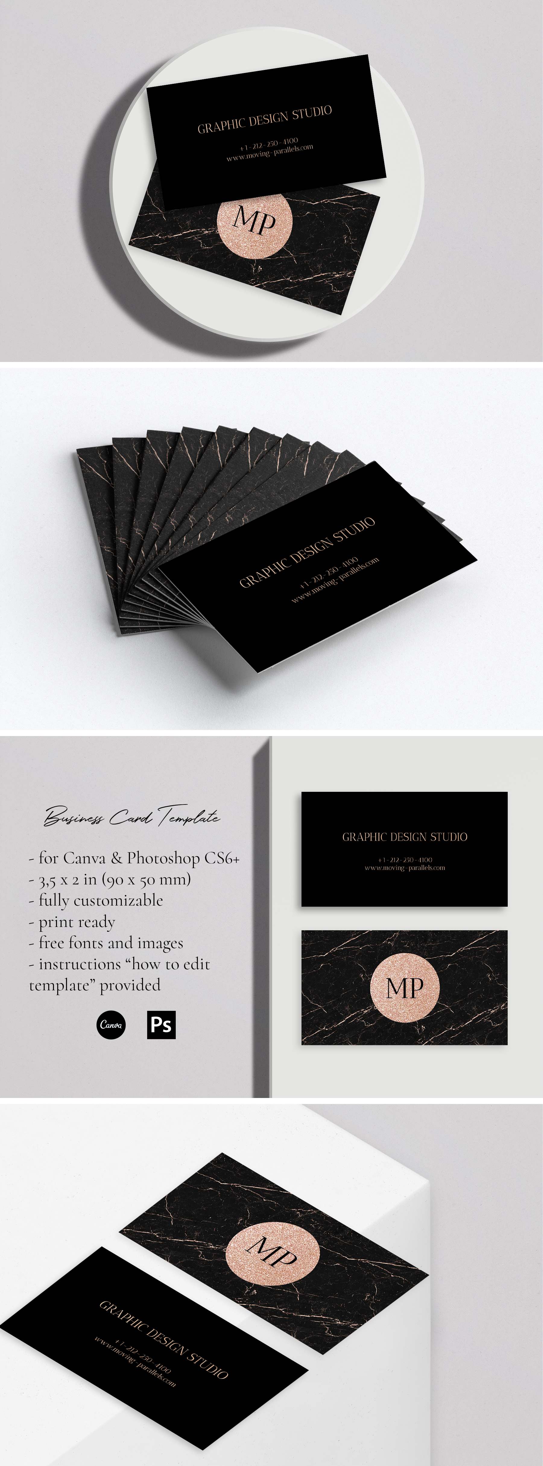 Rose Gold White Black Marble Glitter Foil Business Card Etsy In 2020 Foil Business Cards Visiting Card Templates Gold Business Card