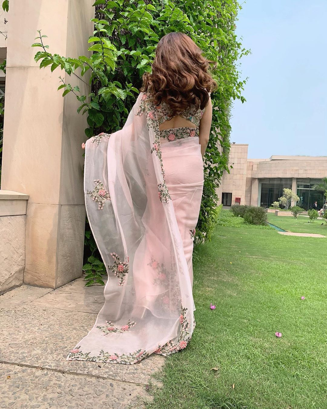Photo of Baby pink embroidered wedding saree