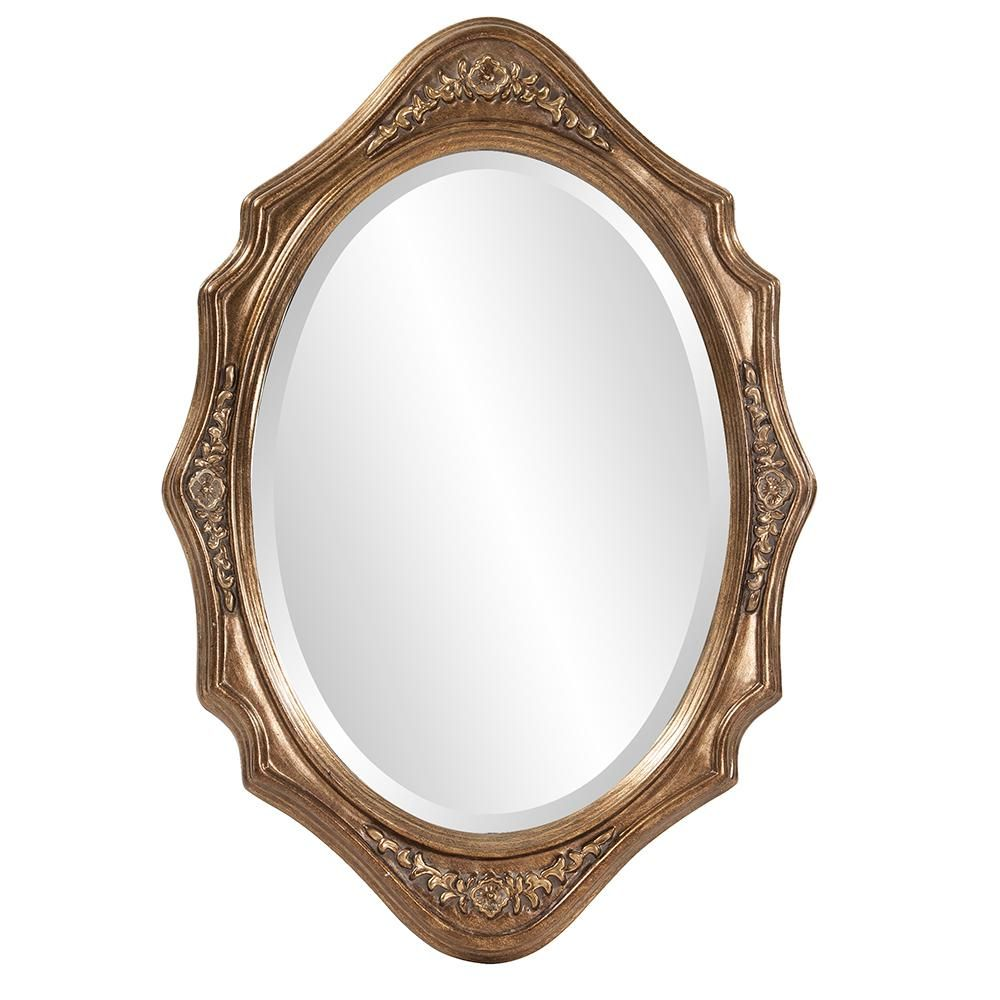 Oval Mirror Wood Frame Howard Elliot Collection 27 In X 19 In Grooved Wood Silver