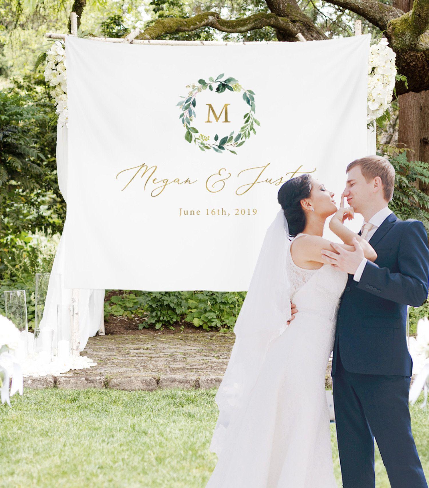Personalized Wedding Backdrop For Reception Monogram Etsy Bridal Shower Backdrop Rustic Wedding Banner Wedding Banner