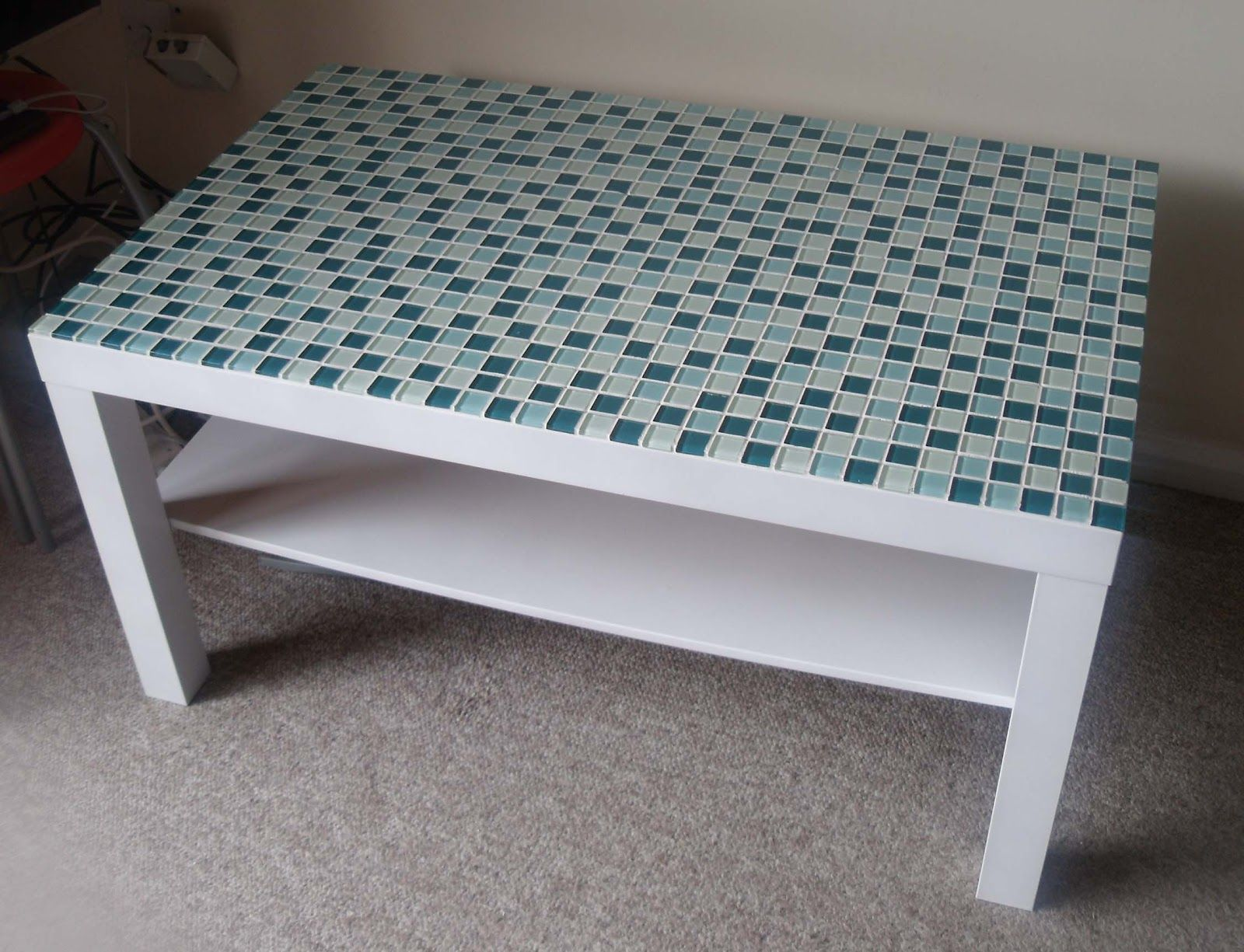 Ikea coffee table reno with backsplash tiles genius but for Tile coffee table