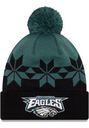 New Era Philadelphia Eagles Mens Black Wintry Cuff Knit Hat  5c3e3ffbd