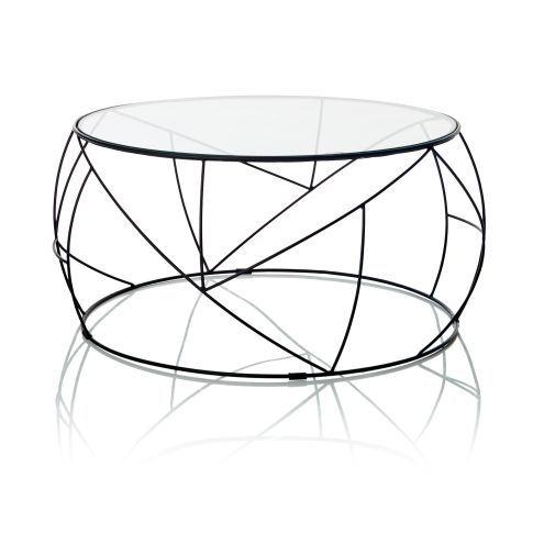 Couchtisch rund geh rtetes glas metall vorderansicht for Wohnzimmertisch glas metall