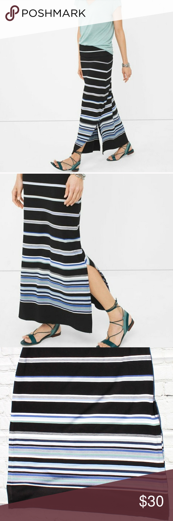 WHBM maxi 2 way dress/skirt striped Stripe skirt, Dress