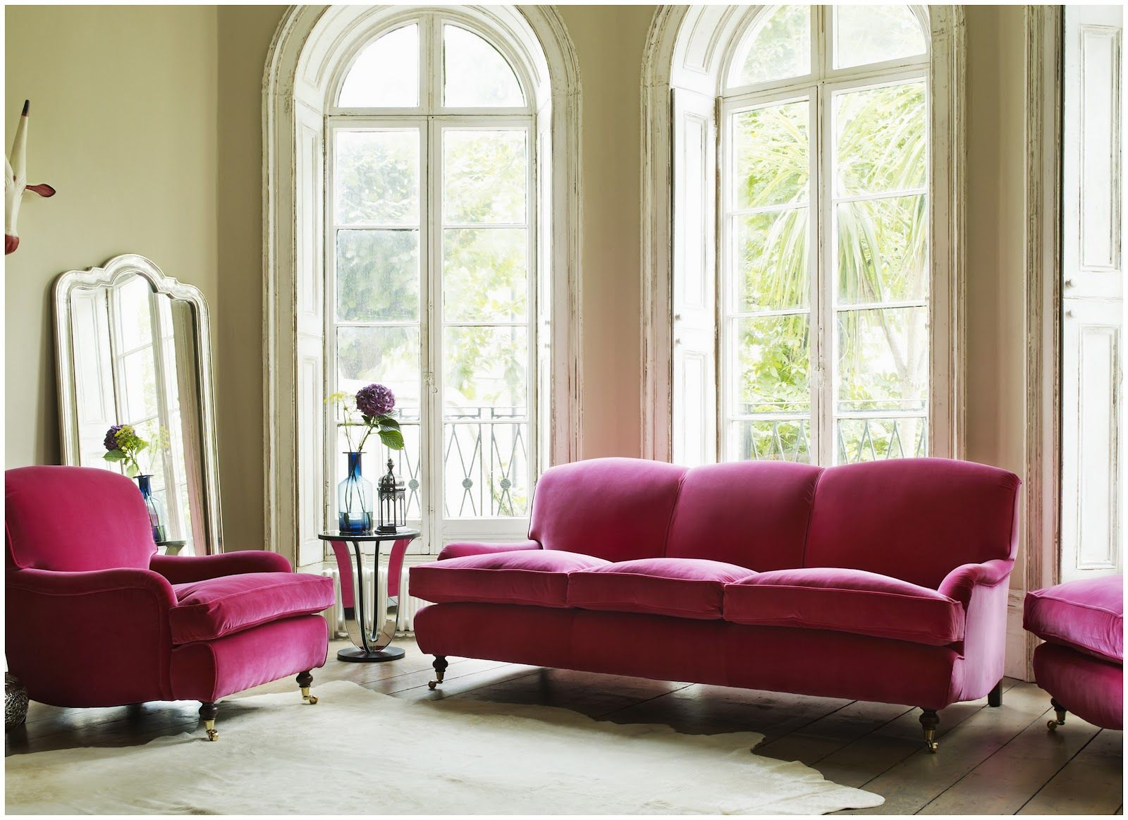 Windsor Velvet Sofa Collection Raspberry Velvet
