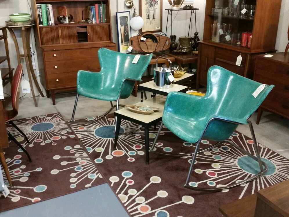 SOLD! 1950's Vintage Wingback Fiberglass Rocking Chairs in ...
