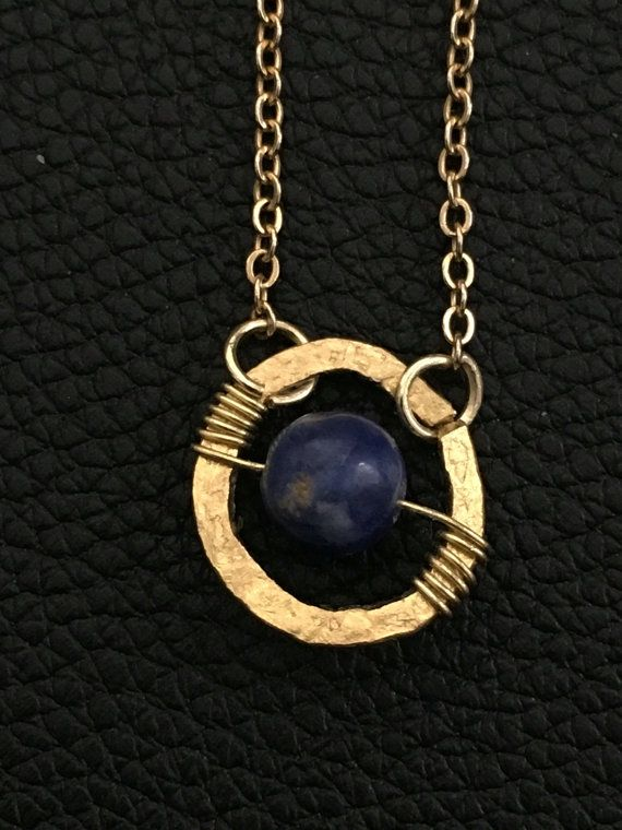 handmade dainty boho style necklace Sodalite gold by PopandLocket