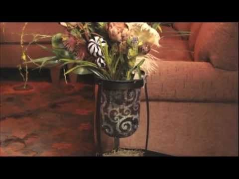 Rustic Scroll Floor Stand by PartyLite - Good showcasing your favorite hurricane candle holder. Crafted with simple curved lines and a classic bronze finish, it compliments every decorating style.