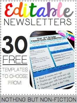 Editable Newsletters Back To School Pinterest Classroom