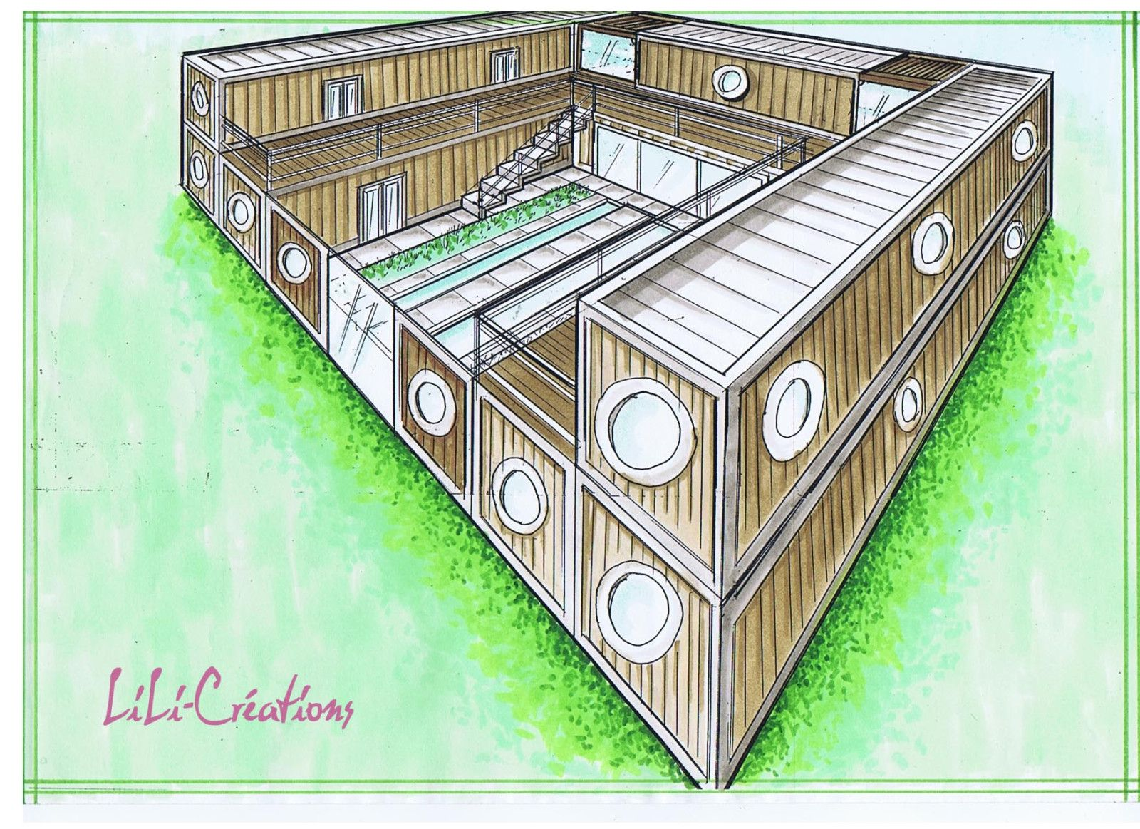 Souvent shipping container homes with courtyard - Google Search | Shipping  UH13
