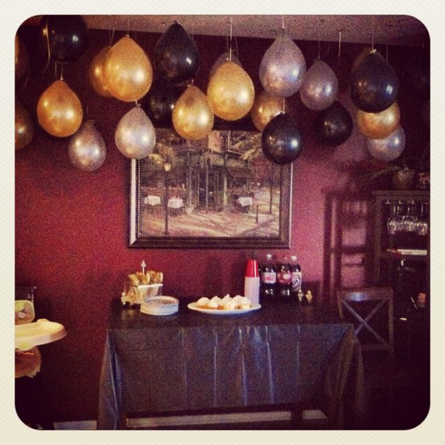 Black Gold And Silver Balloons Hanging From Ceiling That Way