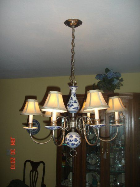 Vintage nickel and delft chandelier hanging in my dining room vintage nickel and delft chandelier hanging in my dining room purchased on ebay mozeypictures Choice Image