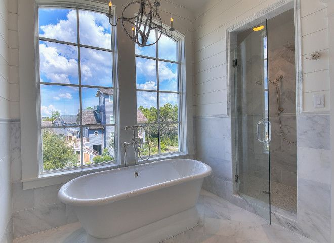 Bathroom Design Ideas With Wainscoting bathroom with marble wall tiles and shiplap wainscoting