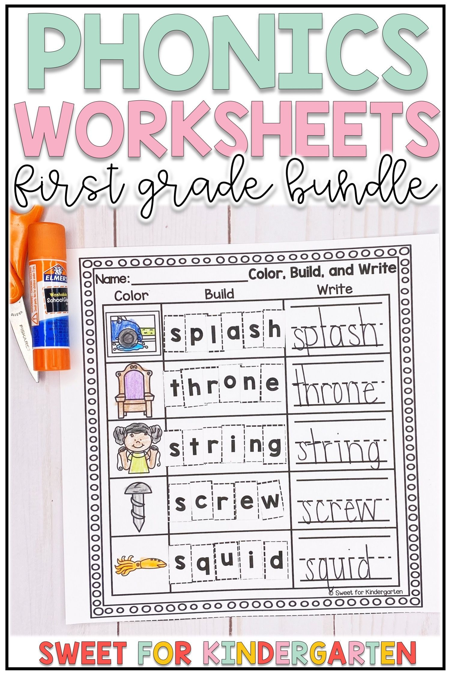 First Grade Phonics Worksheets Bundle   Phonics worksheets [ 2249 x 1499 Pixel ]