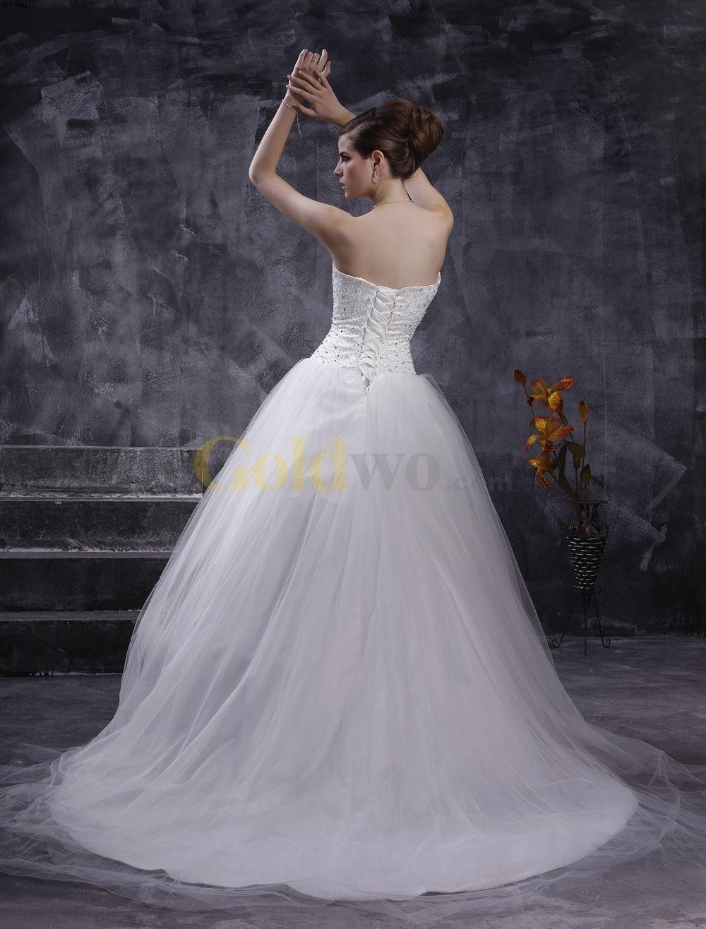 Elegant ball gown strapless sweetheart beading embroidery net satin