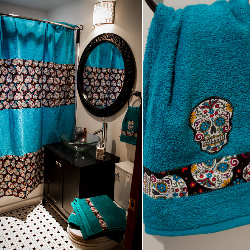 Sugar Skull Shower Curtain With Matching Towels Skull Shower Curtain Sugar Skull Shower Curtain Bathroom Decor Colors