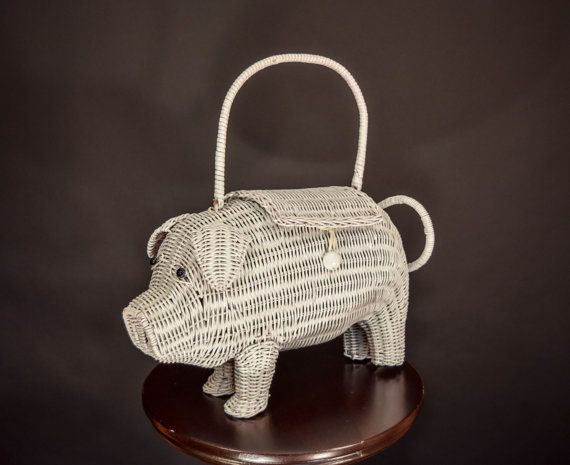 Vintage Wicker Pig Purse Novelty Figural Handbag by cominguproses d78687f68ca55