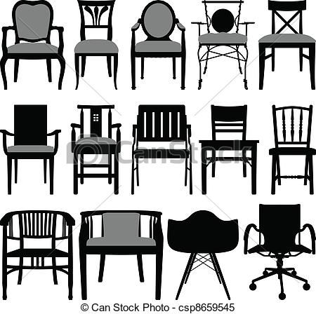 Esstisch clipart  Clipart Vector of Chair Design - A set of silhouette showing chair ...