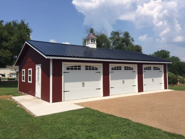 We Love When Our Customers Send Us Pictures Of Their New Builds Here Is A Single Story 3 Car Garage We Recently Bui Building A Shed Backyard Storage Backyard