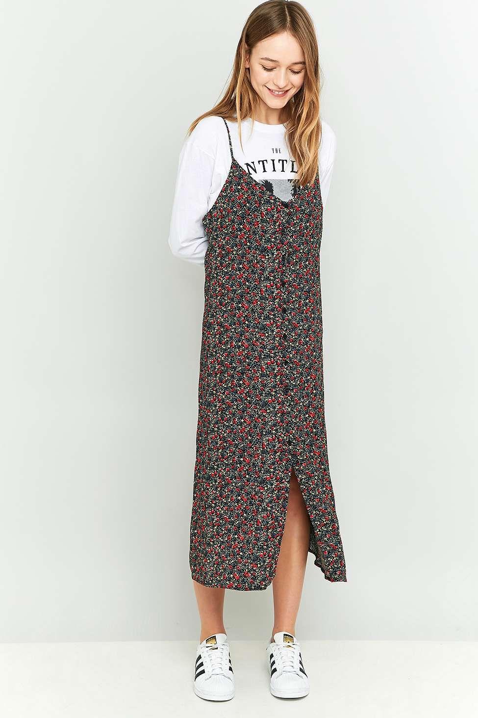 089a139138307 Pins & Needles Button-Down Floral Black Midi Slip Dress | Clothes ...