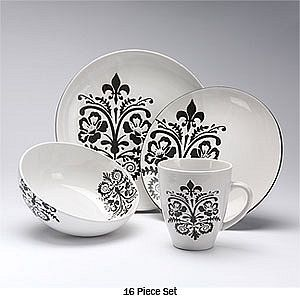 Black and white Fluer De Lis dishes! goes with anything // & Black and white Fluer De Lis dishes! goes with anything http://www ...