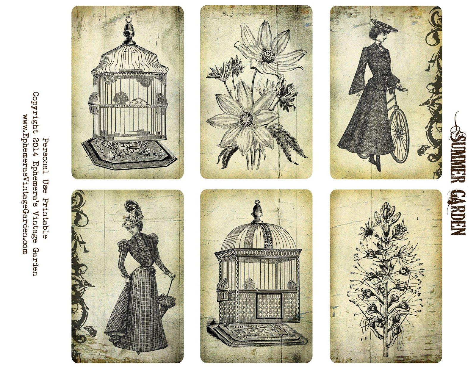 Ephemera's Vintage Garden: Free Printable - Summer Garden Cards. For personal use only.