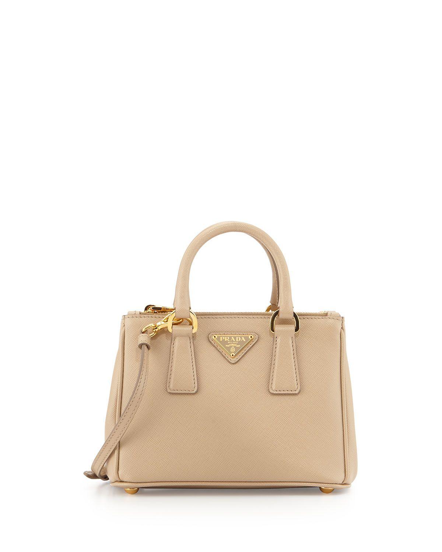 598fef9510 Prada Saffiano Mini Galleria Crossbody Bag, Beige (Sabbia ...