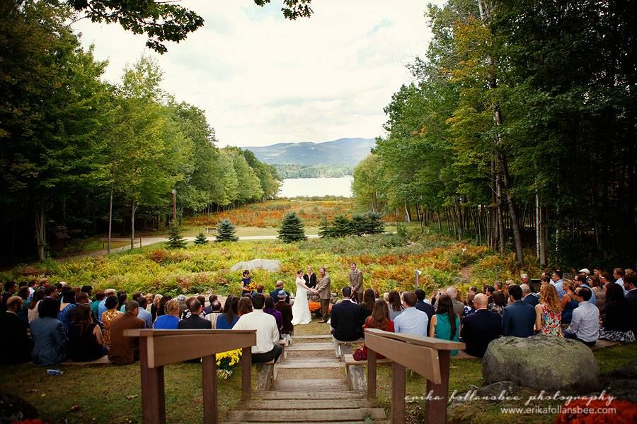 Laura And Bens NH Lakes Region Wedding Merriment Featured Lawn Games Beer Amazing Mountain Views In A Rustic Camp Setting