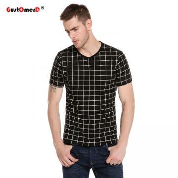 c82fa33f1e27 2017 New Summer Plaid Print T Shirt Men Short Sleeve Slim Fit Casual T-shirt