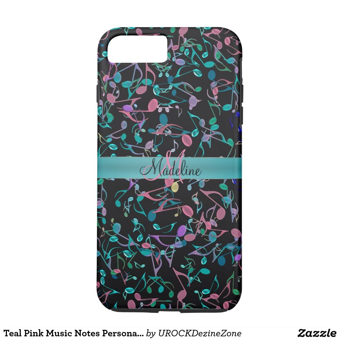 Teal Pink Music Notes Personalized #iPhone 7 Case  #zazzle