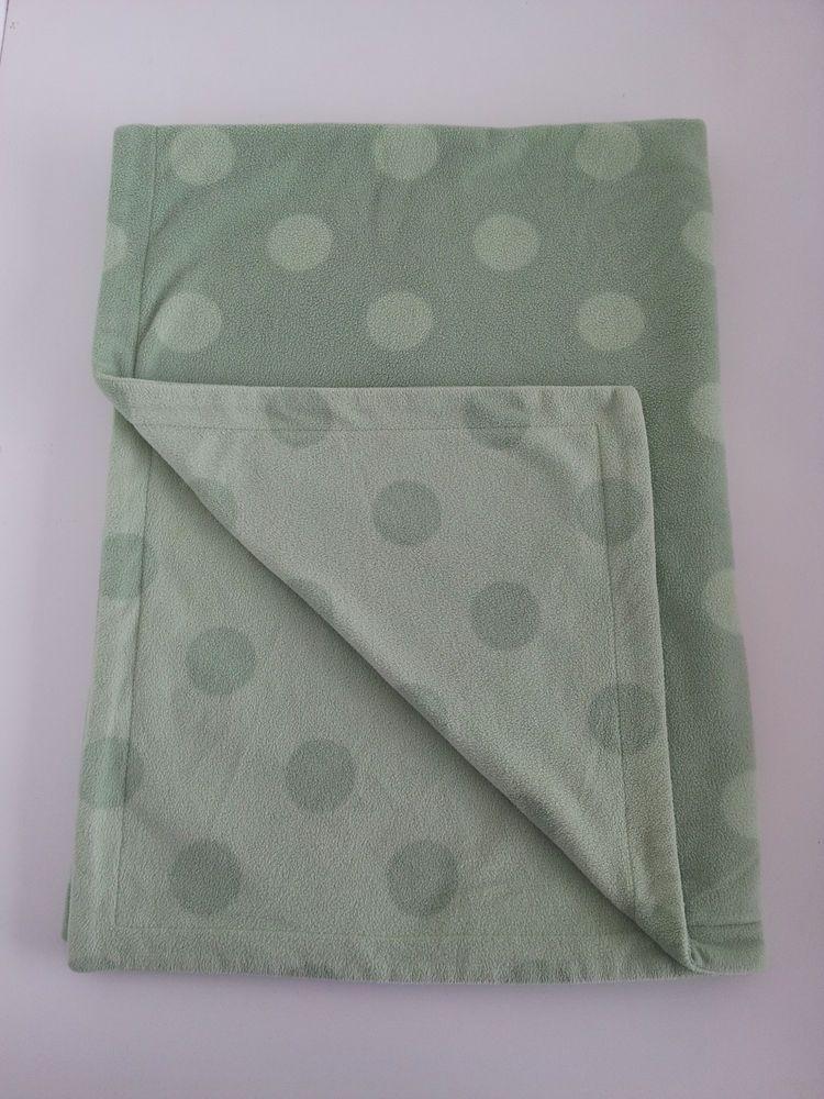 Amy Coe Baby Blanket Green Polka Dots Microfleece 30x40