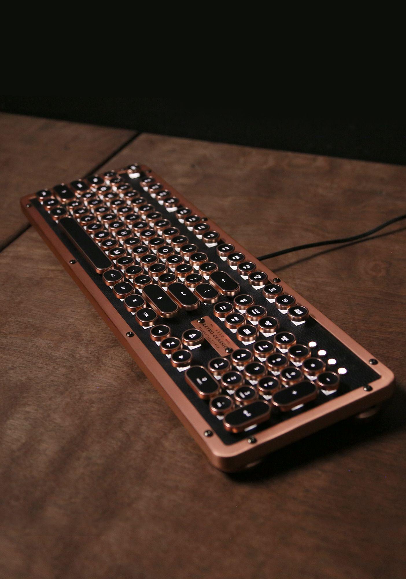 Retro Classic Artisan Luxury Vintage Keyboard Steampunk Aesthetic Vintage Typewriter Inspired And Made Of Leat Retro Typewriter Keyboards Custom Computer