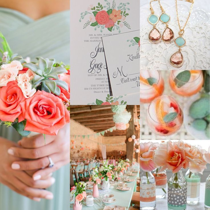 Coral And Mint Wedding Invitations: Stunning Coral And Mint Green Wedding Invitation. Not Your