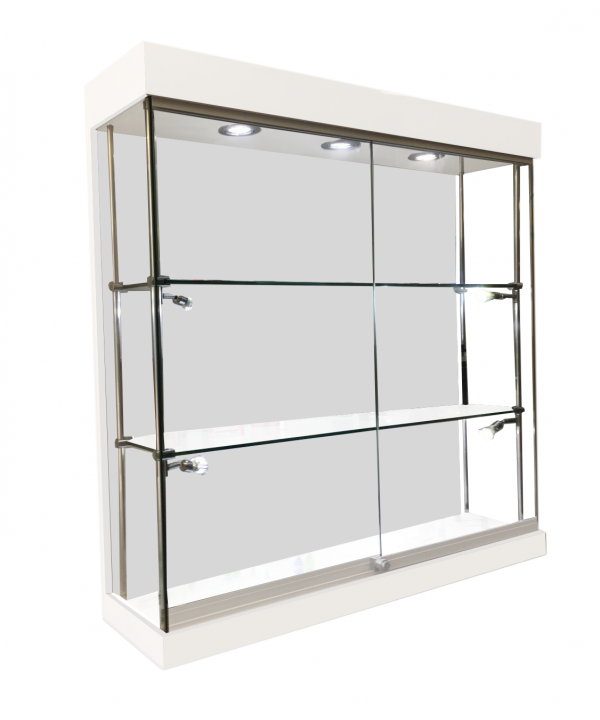 1000mm X 1000mm Frameless Gloss White Wall Display Cabinet LED  Fitted W10 10F 31