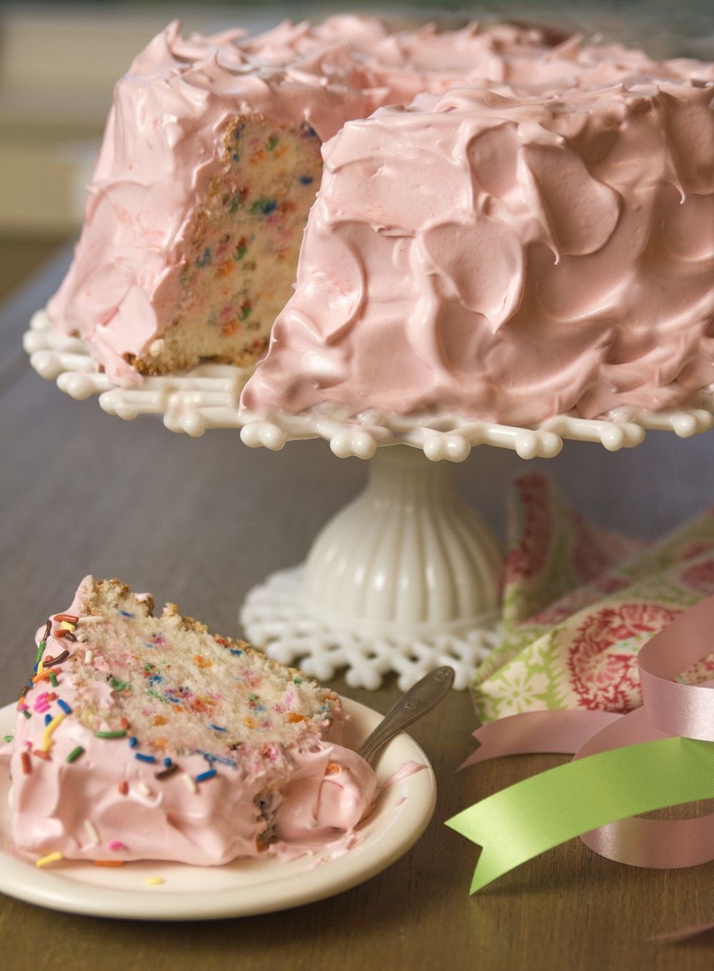 Confetti Angel Food Cake With Fluffy Icing Angel Food Cake