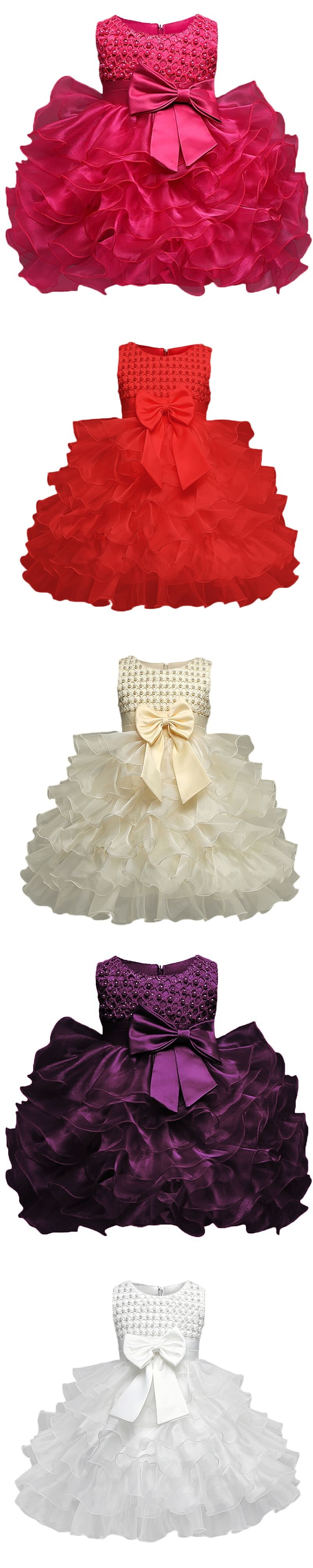 60b88590b Toddler Girl Christening Gown Dress Infant Baptism Clothes Kids ...