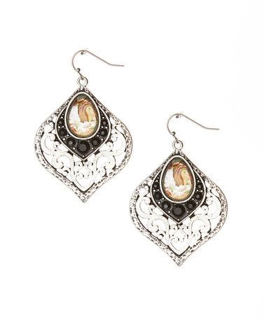 Another great find on #zulily! Silver & Black Cutout Earrings #zulilyfinds