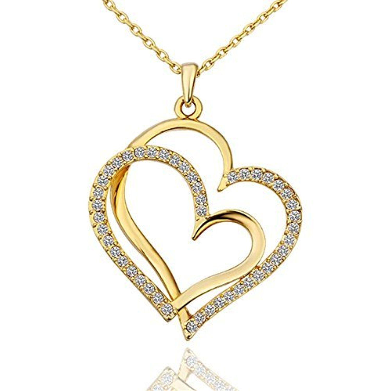 Dilanco Heart Linked to Heart Swarovski Crystal 18K Gold Plated