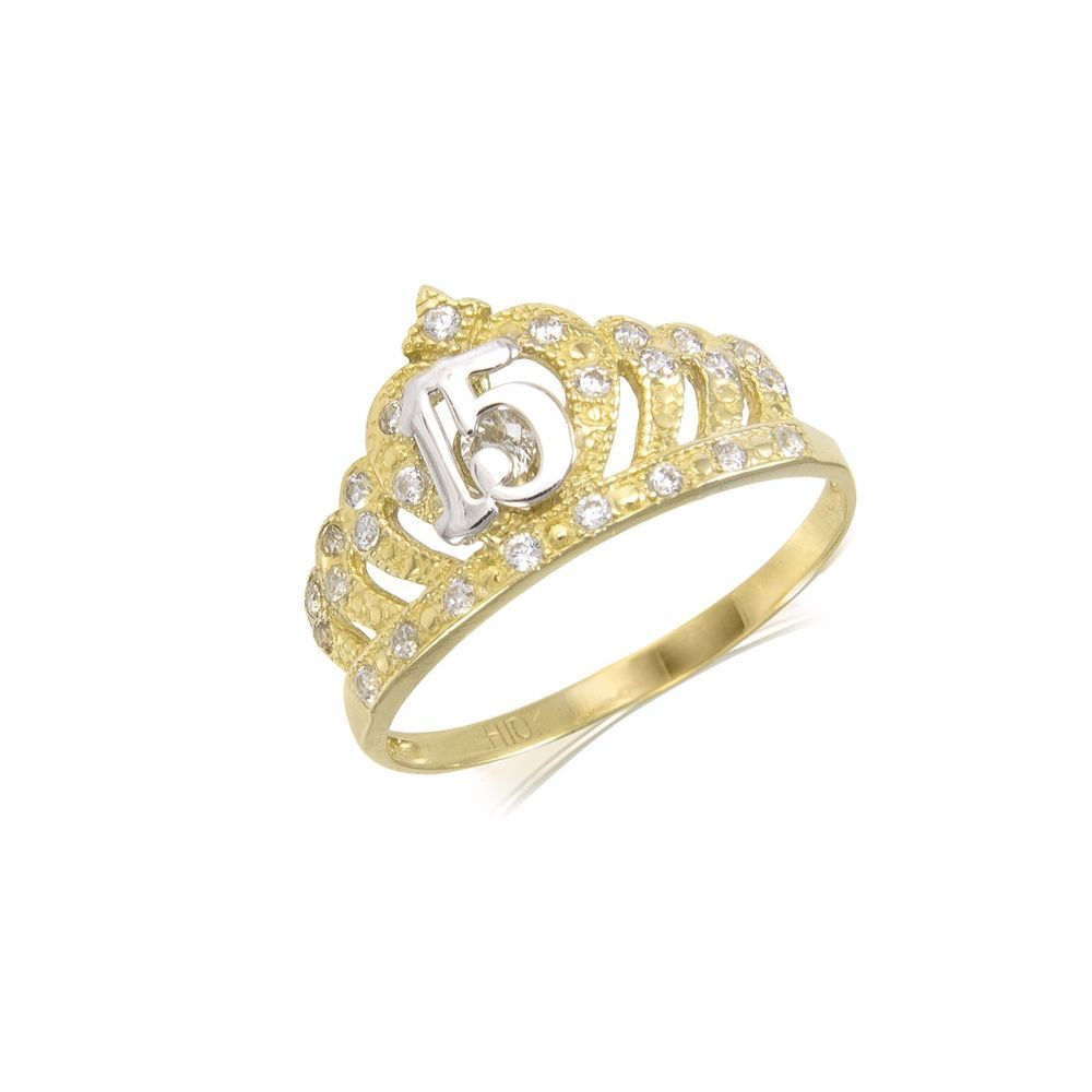 4b015a465 10K Solid Yellow Gold CZ Crown Sweet 15 Ring Quinceanera Anos Birthday Band  Girl | Jewelry & Watches, Fine Jewelry, Fine Rings | eBay!