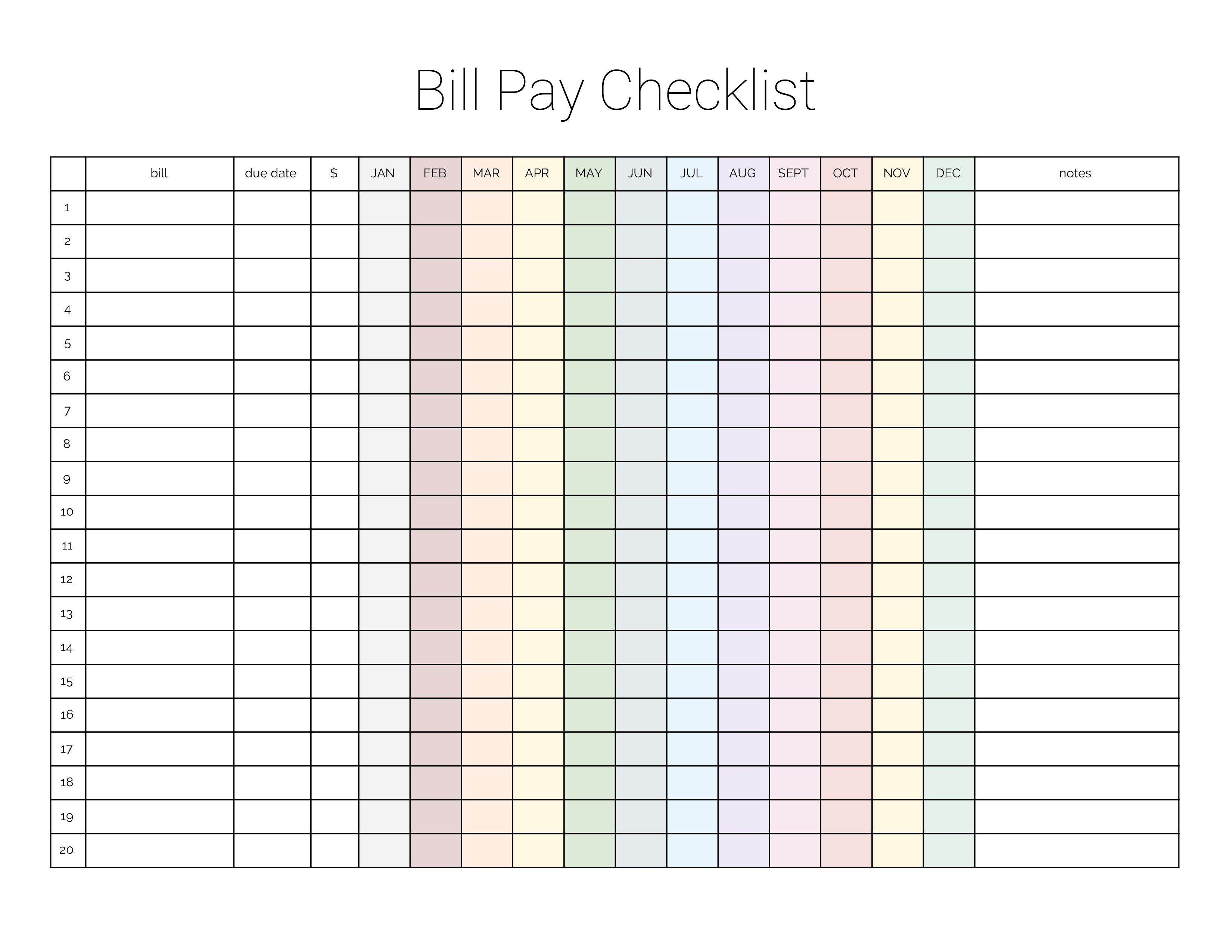 Monthly Bill Payment Checklist Printable