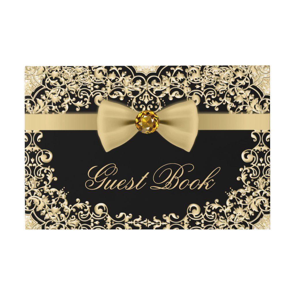 Elegant Black Gold Wedding Party Event Guest Book - Wedding