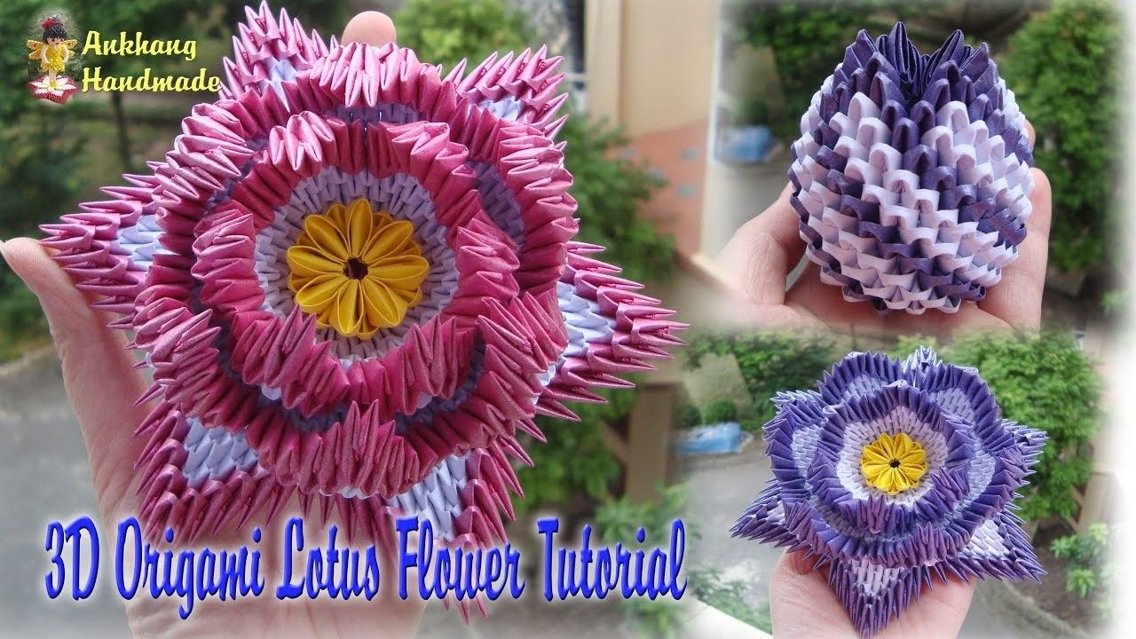 How To Make 3d Origami Lotus Flower And Bud Pinterest Paper