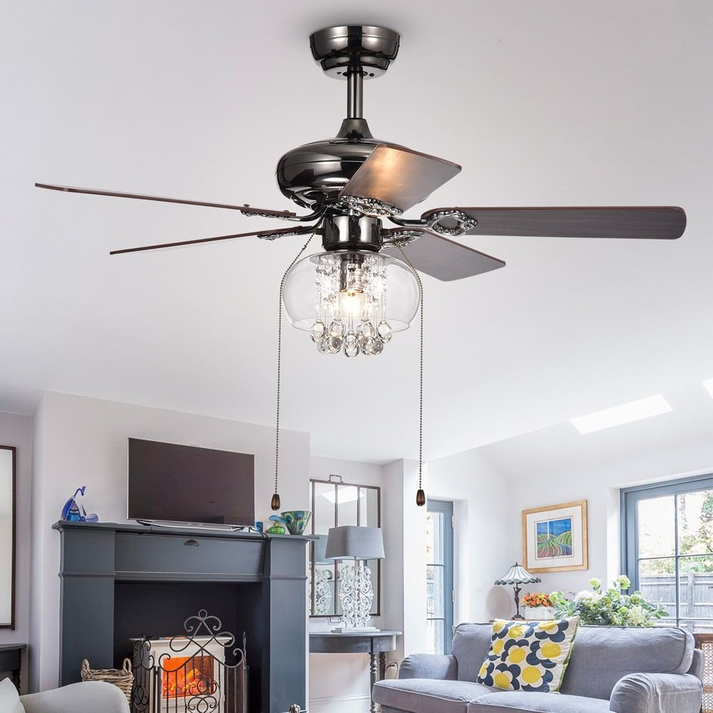 Warehouse Of Tiffany Aequor 1 Light Glass And Crystal 5 Blade 42 Inch Pear Black Ceiling Fan Brown Bronze