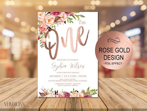 Rose Gold 1st Birthday Invitation Blush Floral First Party Invitebaby One