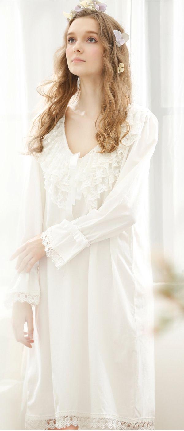 Pink/White Cotton Nightgown | Women\'s Sleepwear & Intimates ...