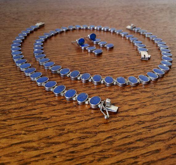 Vintage Chilean Lapis Lazuli Choker Bracelet And Earrings 970 Silver Mint Condition Chokers Lapis Lazuli Necklace Vintage Jewelry
