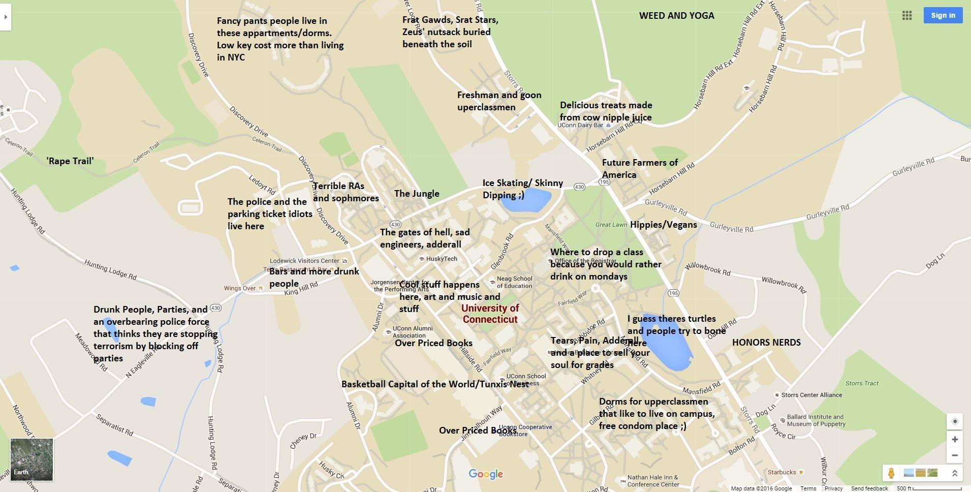 UConn: http://theblacksheeponline.com/uconn/a-judgmental-map-of-storrs-ct